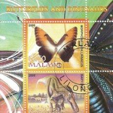 Sellos: HOJA BLOQUE DE 2 SELLOS DE MALAWI TEMA MARIPOSAS Y DINOSAURIOS LOTE3. Lote 154130810