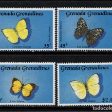 Sellos: GRANADA GRANADINAS 1050/53** - AÑO 1989 - FAUNA - MARIPOSAS. Lote 154671842