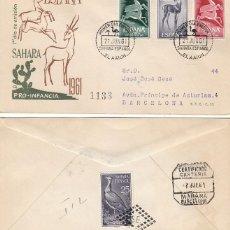 Sellos: SAHARA EDIFIL 190/2, GACELAS, PRIMER DIA DE 21-6-1961 CIRCULADO. Lote 288469913