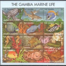 Sellos: GAMBIA - HB - SERIE COMPLETA - VIDA MARINA - NUEVA, SIN FIJASELLOS. Lote 155501294