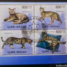 Sellos: GATOS HOJA BLOQUE DE SELLOS USADOS DE GUINEA BISSAU. Lote 156495909
