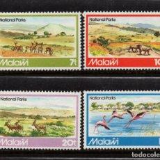 Sellos: MALAWI 378/81** - AÑO 1982 - FAUNA - ANIMALES SALVAJES - PARQUES NATURALES. Lote 156511914