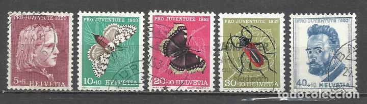 Q508H-SELLOS SUIZA SERIE COMPLETA 19,00€ ,JUVENTUD.1953 Nº 539/43 INSECTOS,MARIPOSAS.FAUNA.HELVETIA. (Sellos - Temáticas - Fauna)