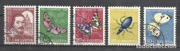 Q508I-SELLOS SUIZA SERIE COMPLETA 11,00€ ,JUVENTUD.1956 Nº 581/5 INSECTOS,MARIPOSAS.FAUNA.HELVETIA.S (Sellos - Temáticas - Fauna)