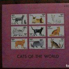 Sellos: FAUNA-ANIMALES DE COMPANIA-GATOS-BHUTAN-1999-BLOQUE**(MNH). Lote 158451998