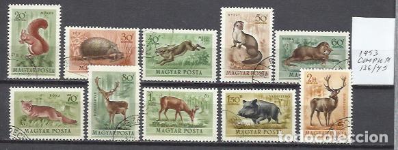 Q509R-SELLOS 1953 SERIE COMPLETA FAUNA ANIMALES SALVAJES HUNGRIA AEREOS 136/45 (Sellos - Temáticas - Fauna)