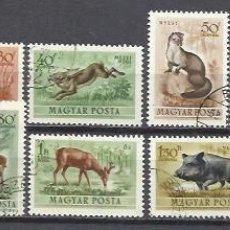 Sellos: Q509R-SELLOS 1953 SERIE COMPLETA FAUNA ANIMALES SALVAJES HUNGRIA AEREOS 136/45. Lote 160619026