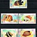 Sellos: RAS AL KHAIMA (EMIRATOS ARABES) 669/73, PECES, USADOS. Lote 160630390