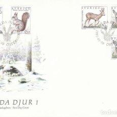 Sellos: SUECIA 1686/9, ANIMALES SALVAJES SUECOS, PRIMER DIA DE 30-1-1992. Lote 164910022