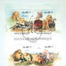Sellos: LEONES HOJA BLOQUE DE SELLOS USADOS DE MOZAMBIQUE. Lote 166632618