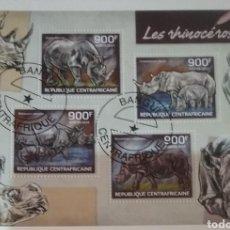 Sellos: HB R. CENTROAFRICANA MTDA/2014/RINOCERONTE AFRICANO/NATURALEZA/MAMIFERO/SABANA/SELVA/ANIMALES/FAUNA. Lote 167736189