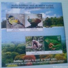 Sellos - India fauna protegida hoja bloque de sellos nuevos - 167922566