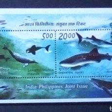 Sellos - India tiburones hoja bloque de sellos nuevos - 167977285