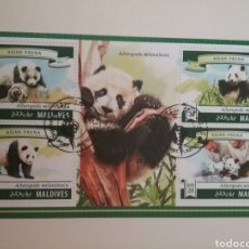 Sellos: HB R. MALDIVAS MTDOS/2015/OSO PANDA/ANIMALES/EXTINCIO/MAMIFERO/ARBOL/FAUNA/FLORA/NATURALEZA/. Lote 168378850