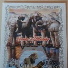 Sellos: HB COSTA MARFIL (COTE D'IVOIRE) MTDO/2018/FAUNA AFRICANA/ELEFANTE/ANIMALES/LEON/FELINOS/RINOCIRONTE. Lote 168502841