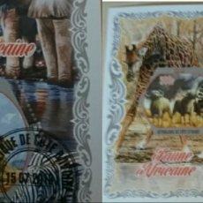Sellos: HB COSTA MARFIL (COTE D'IVOIRE) MTDO/2018/FAUNA AFRICANA/ELEFANTE/ANIMALES/LEON/FELINOS/RINOCIRONTE. Lote 168506340