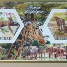 Sellos: HB R. CHAD (TCHAD) MTDOS/2015/FAUNA, ANIMALES SALVAJES AFRICA/LEON/FELINO/TIGRE/SABANA/ECOSISTEMA/BU. Lote 168869998