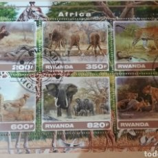 Sellos: HB R. RUANDA (RWANDA) MTDA/2017/AFRICA/FAUNA, ANIMALES SALVAJES/JIRAFA/TIGRE/SABANA/NATURALEZA. Lote 168872074