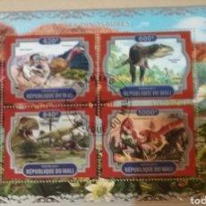 Francobolli: HB R. MALI MTDA/2017/DINOSAURIOS/ANIMALES/PREHISTORIA/FAUNA/FLORA/MESOZOICO/AVES/VELOCIRAPTOR/. Lote 168872557
