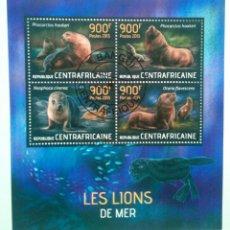 Briefmarken - Leones marinos hoja bloque de sellos usados de República Centroafricana - 168952568