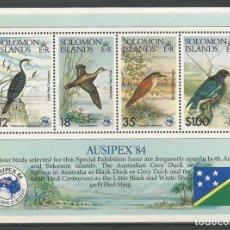 Sellos: ISLAS SOLOMON - BLOQUE DE AUSIPEX 84 DE PÁJAROS - NUEVO CON GOMA ORIGINAL. Lote 170204256