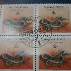 Sellos: SELLOS DE HUNGRÍA (MAGYAR P.) MTODS/1989/CONSERVACION/REPTILES/VERTEBRADOS/ANIMALES/FAUNA/SERPIENTE/. Lote 170571921