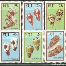 Sellos: FIJI 1987 IVERT 558/63 *** FAUNA MARINA - CONCHAS. Lote 170915075