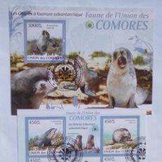 Sellos: LEONES MARINOS 2 HOJAS BLOQUE DE SELLOS USADOS DE COMORAS. Lote 171255470
