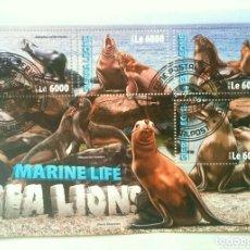 Sellos: SIERRA LEONA LEONES MARINOS HOJA BLOQUE DE SELLOS USADOS. Lote 173018690