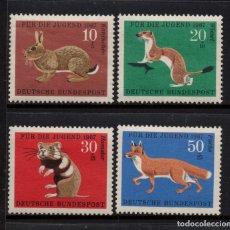 Sellos: ALEMANIA 387/90** - AÑO 1967 - FAUNA - ANIMALES SALVAJES - PRO OBRAS PARA LA JUVENTUD. Lote 176188037
