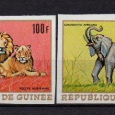 Sellos: GUINEA AEREO 86/87** - SIN DENTAR - AÑO 1968 - FAUNA AFRICANA - ANIMALES SALVAJES. Lote 176752583