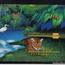 Sellos: NACIONES UNIDAS NEW YORK HB 16** - AÑO 1998 - FAUNA - ANIMALES SALVAJES - JAGUAR. Lote 178133025