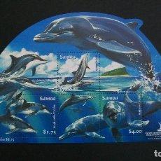 Sellos: FAUNA MARINA-DELFINES-SAMOA-2005-BLOQUE Y&T 72**(MNH). Lote 178993683