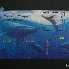 Sellos: FAUNA MARINA-BALLENAS-TONGA-2005-BLOQUE Y&T 46 **(MNH). Lote 178993741