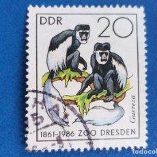 Sellos: SELLO DE ALEMANIA, DDR. FAUNA. ZOOLÓGICO DE DRESDEN. MONOS. AÑO 1986.. Lote 180107842
