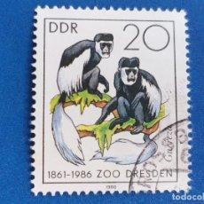 Sellos: SELLO DE ALEMANIA, DDR. FAUNA. ZOOLÓGICO DE DRESDEN. MONOS. AÑO 1986.. Lote 180107872