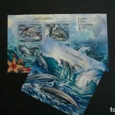Sellos: COMORES-2011-FAUNA MARINA-DELFINES-MINIPLIEGO+BLOQUE**(MNH). Lote 180215861