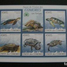 Sellos: COMORES-2009-FAUNA MARINA-TORTUGAS-MINIPLIEGO**(MNH). Lote 180216063