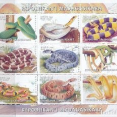 Sellos: HOJA BLOQUE : MADAGASCAR SEPIENTES. Lote 182026483