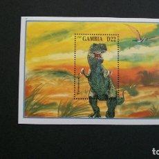Sellos: GAMBIA-1998- BLOQUE**(MNH)-ANIMALES PREHISTORICOS. Lote 182715535