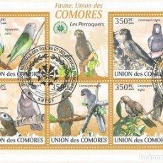 Sellos: HOJA BLOQUE DE ISLAS COMORES PERIQUITOS. Lote 183180723