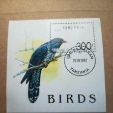 Sellos: HOJA DE BLOQUE TANZANIA BIRDS 1992 CON GOMA. Lote 183526703