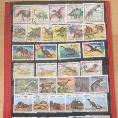 Sellos: LOTE COLECCIÓN DE 48 SELLOS + 3 HB DE ANIMALES DINOSAURIOS. 2 FOTOS. Lote 183878155
