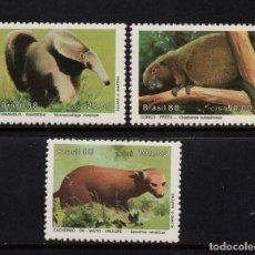 Sellos: BRASIL 1880/82** - AÑO 1988 - FAUNA - ANIMALES PROTEGIDOS. Lote 205610683