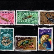 Timbres: ALTO VOLTA 160/69** - AÑO 1965 - FAUNA - ANIMALES SALVAJES - INSECTOS - REPTILES. Lote 185998591