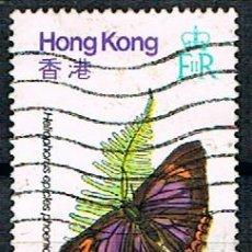 Sellos: HONG KONG Nº 359, MARIPOSA: ZAFIRO PURPURA), USADO. Lote 187524437