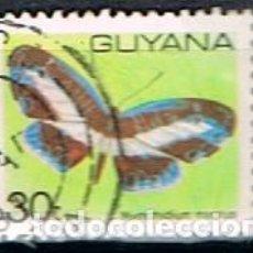 Sellos: GUYANA Nº 334, MARIPOSA: MANTUS METALICA, USADO. Lote 187526812