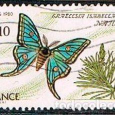 Sellos: FRANCIA Nº 2200, MARIPOSA ISABELINA, USADO. Lote 187586166