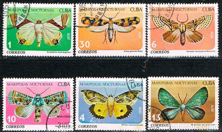 CUBA Nº 24001/6, MARIPOSAS NOCTURNAS, USADO, SERIE COMPLETA (Sellos - Temáticas - Fauna)