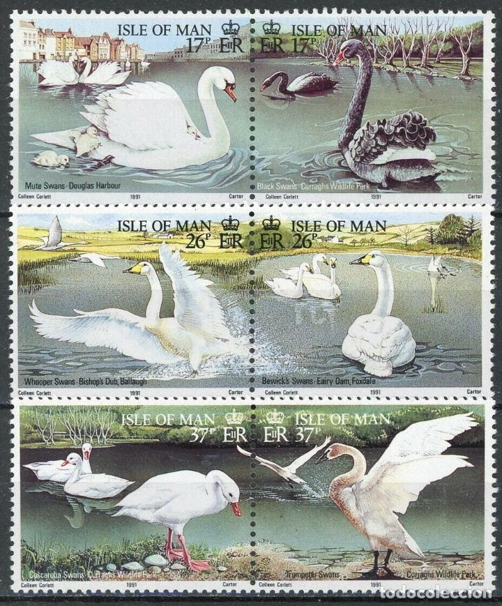 ISLA DE MAN 1991 IVERT 512/7 *** FAUNA - CISNES (Sellos - Temáticas - Fauna)